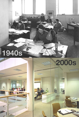 Picture of our office since 1940s and 2000s